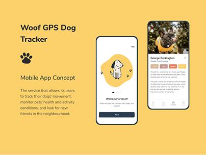 Woof GPS Dog Tracker App Concept