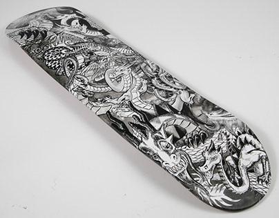 Custom Skate Deck: Wrestling Dragons