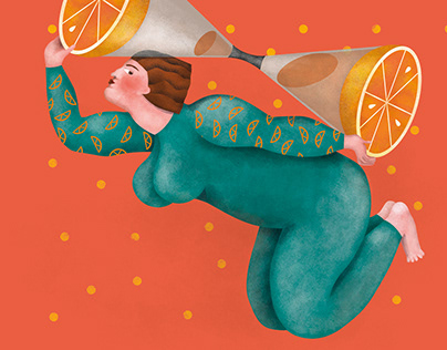 Editorial illustration about women and the past of time