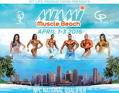 Miami Muscle Beach Poster Design