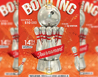 Bowling Tournament - Sport A5 Flyer Template
