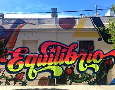 """""""Equilibrio"""" - mural tipográfico en Buenos Aires"""