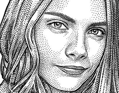 Stipple portrait of Cara Delevingne