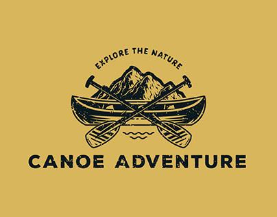 Canoe Adventure. A vintage illustration for rafting