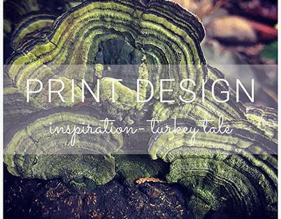 Print design inspiration- Turkey tale mushroom.