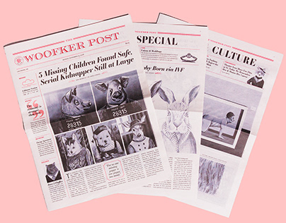 The Woofker Post—Fictional Illustrated Newspaper