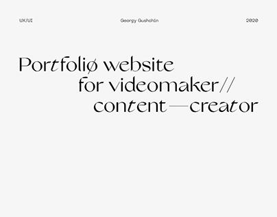 Portfolio website for videomaker
