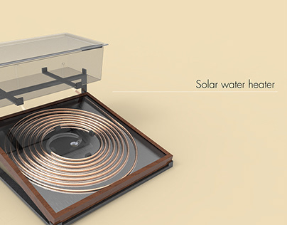 3D model and rendering of a solar water heater