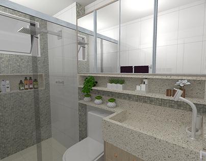 Projeto Banheiro decorado com móveis planejados