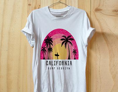 California Surf Session T shirt Design