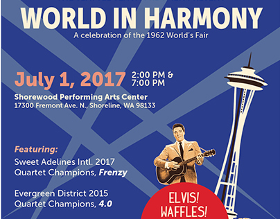 """World in Harmony"" concert poster"