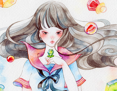Girl's illustration series painted with watercolor