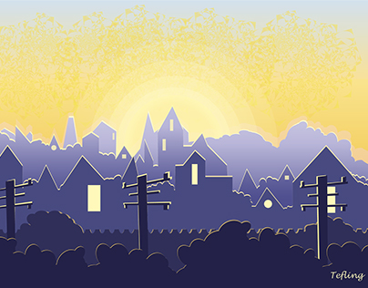 Cityscape - Golden Sunset over Suburbia