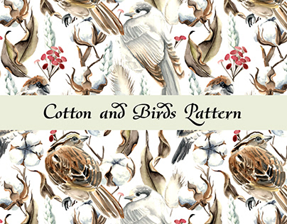 Cotton and Birds Seamless Pattern