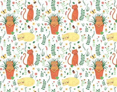 Cats and Plants Pattern