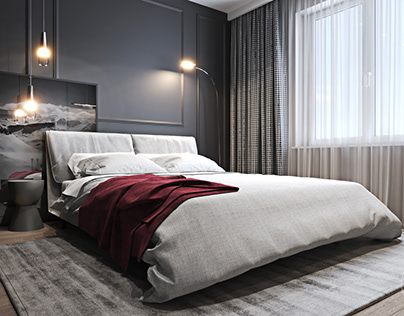 Modern interiors with burgundy accents