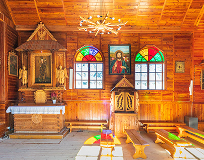 A small wooden church in Szczawa