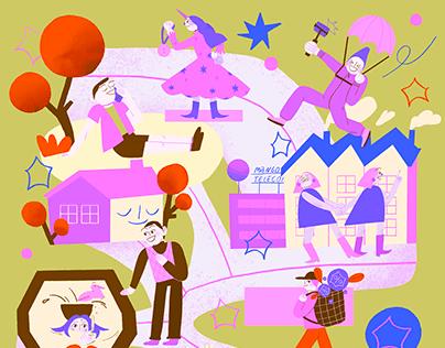 Snob x Mango Office editorial illustrations