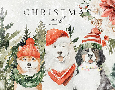 Christmas - watercolor set