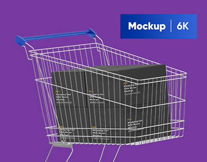 Shopping Cart With Boxes Mockup