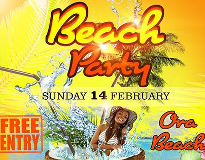 Ora Beach Party Flyer Design