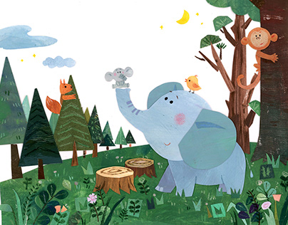 Collage Art---- Elephant in Forest