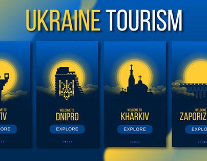 Ukraine tourism illustration UI UX