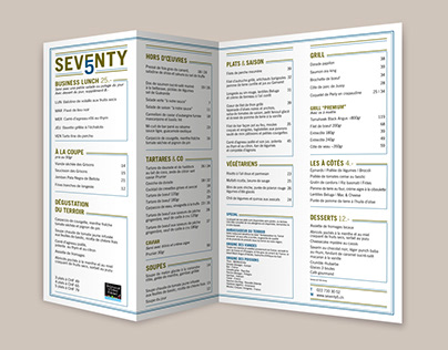 Seventy5 Restaurant Menu Card