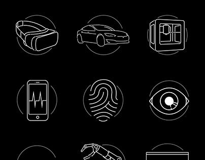 CES 2017 Technology Icon Set