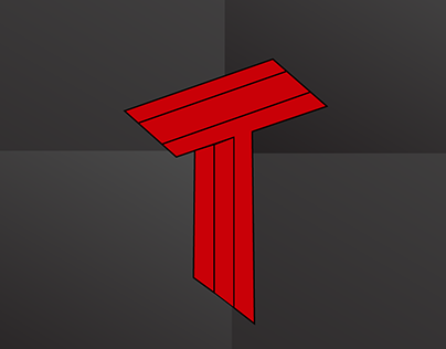 Flat Text Logo with Alphabet ''T''