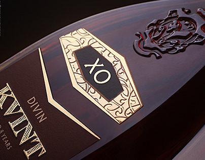 """""""KVINT"""" brandy -branding, bottle design, label design"""