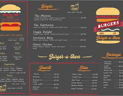 Menu design for burger cafe