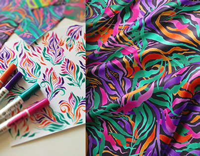 Textile design collection drawn with watercolor markers
