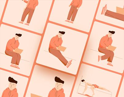 Freelance Guy Illustrations Set