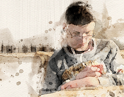 Teenager in Paris Watercolor