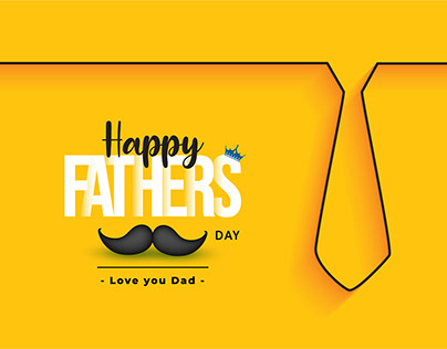 Fathers day yellow greeting card with tie