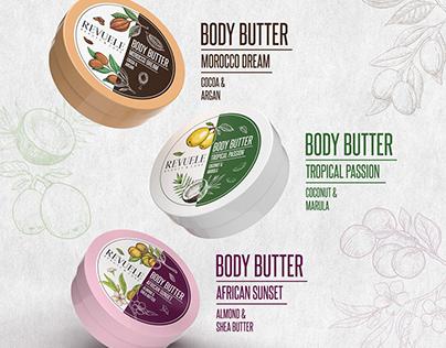 REVUELE Body Butter & Sugar Scrub - Packaging Design