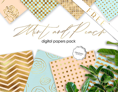 FREE - Mint and Peach Backrounds Pack