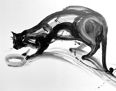 """""""ink kittens"""", minimalist feline paintings, 2021"""