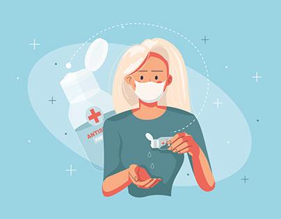 Girl using Antiseptic Illustration