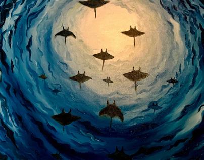 """MantaRay Fever Oil on Canvas 30x30"""""""