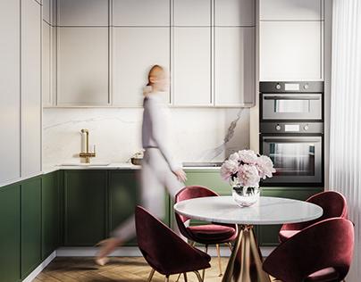 Дизайн и визуализация кухни в современном стиле.