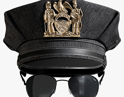 Realistic 3D model of Police Cap And Sunglasses