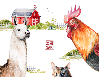 Farm animals: watercolour study