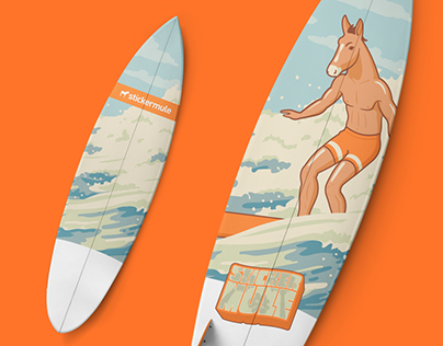 Sticker Mule Surfboard