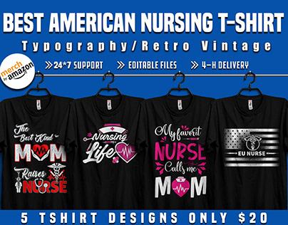 American Nursing t shirt design for patinate nurse