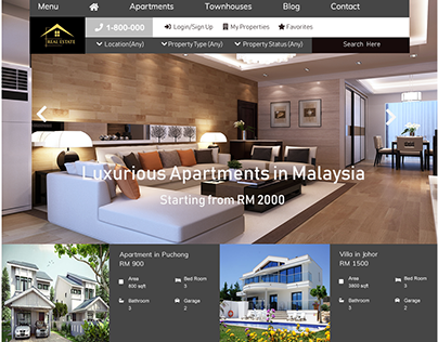 Real Estate Website Template UI/UX Design