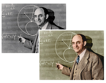 Colorisation of a photograph of Enrico Fermi
