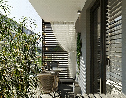 Visualizations of the design of a small balcony