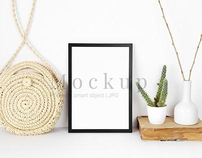 Black Photo Frame Mockup With Straw Bag